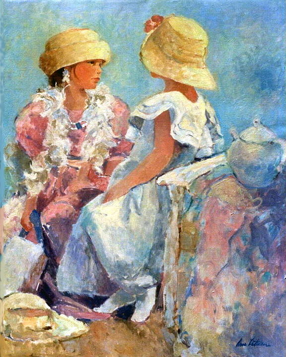 Two Hats Painting by Anne Lattimore