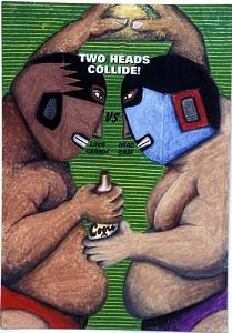 Mexican Painting - Two Heads Collide by Billy Knows