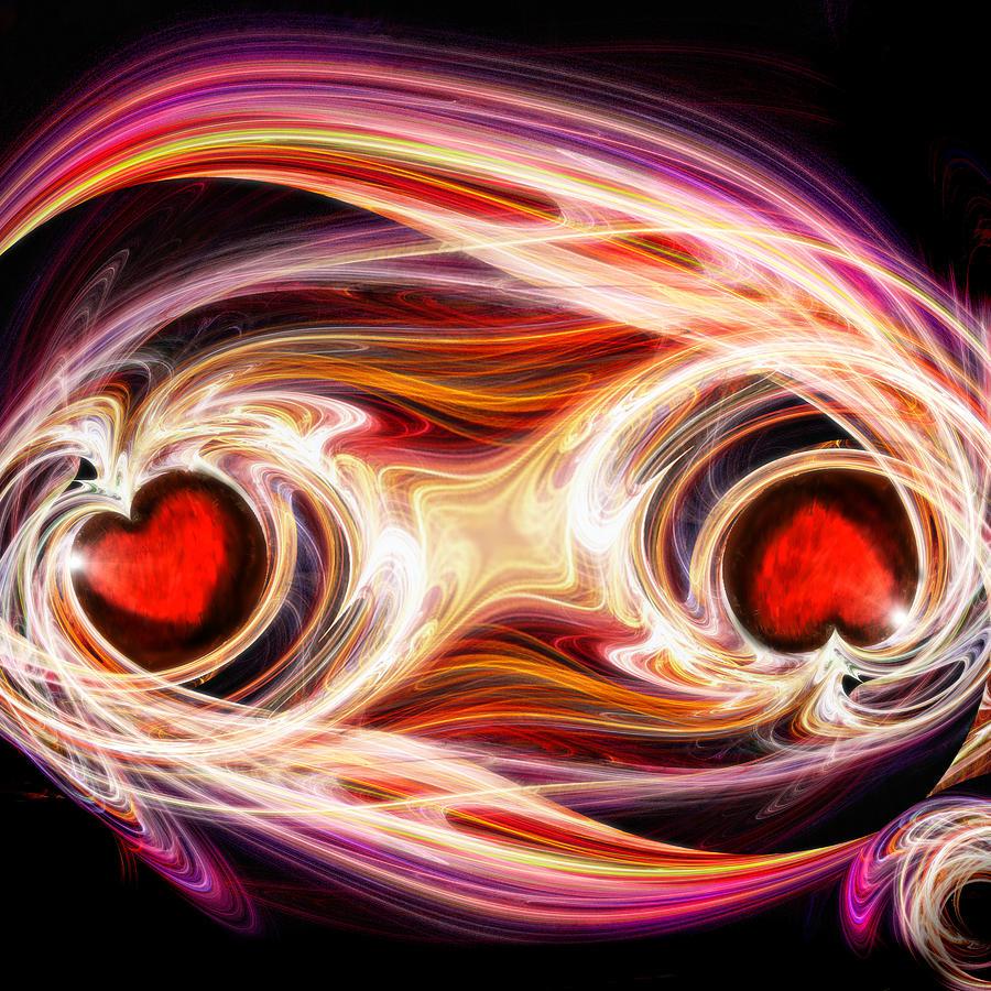 Digital Digital Art - Two Hearts-one Soul by Michael Durst