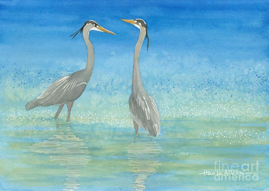 Two Herons - Watercolor by Hao Aiken