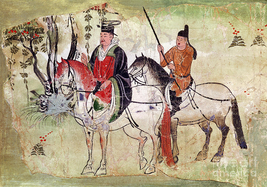 Two Painting - Two Horsemen In A Landscape by Chinese School