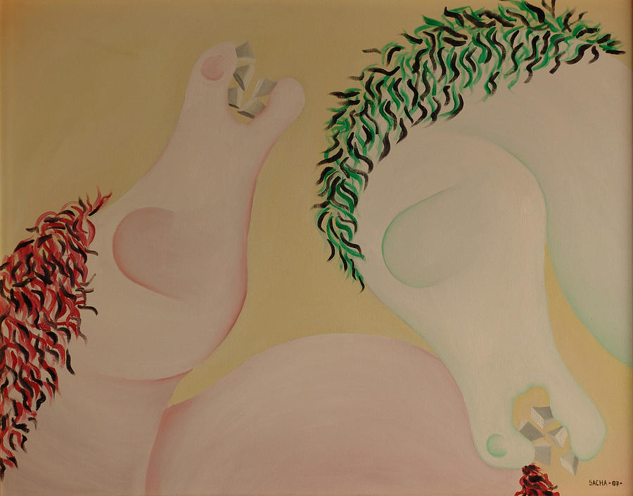 Sacha Circulism Painting - Two Horses  1987 by S A C H A -  Circulism Technique
