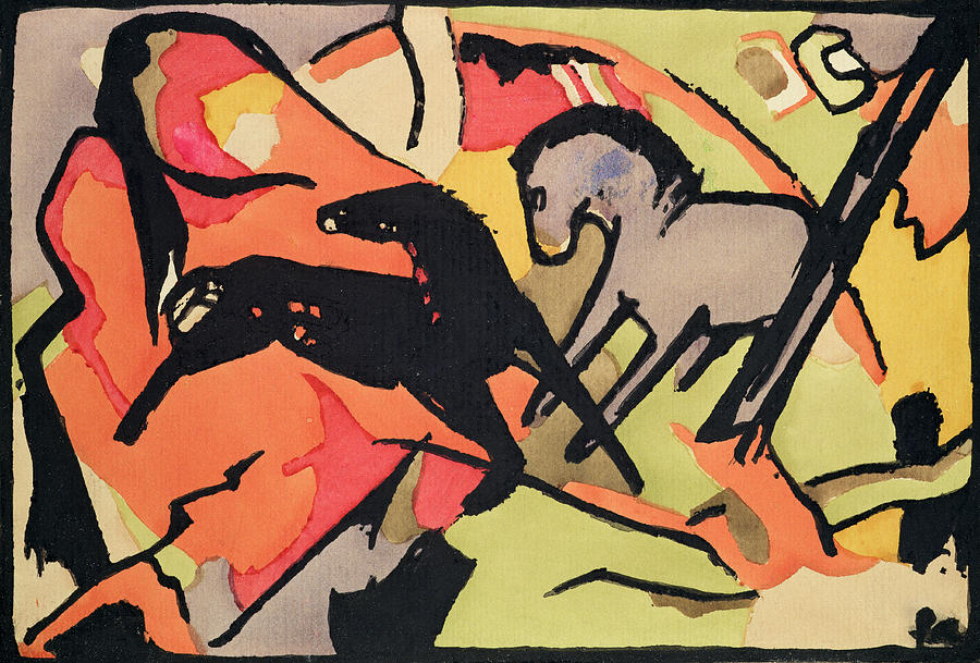 Xkh141490 Painting - Two Horses by Franz Marc