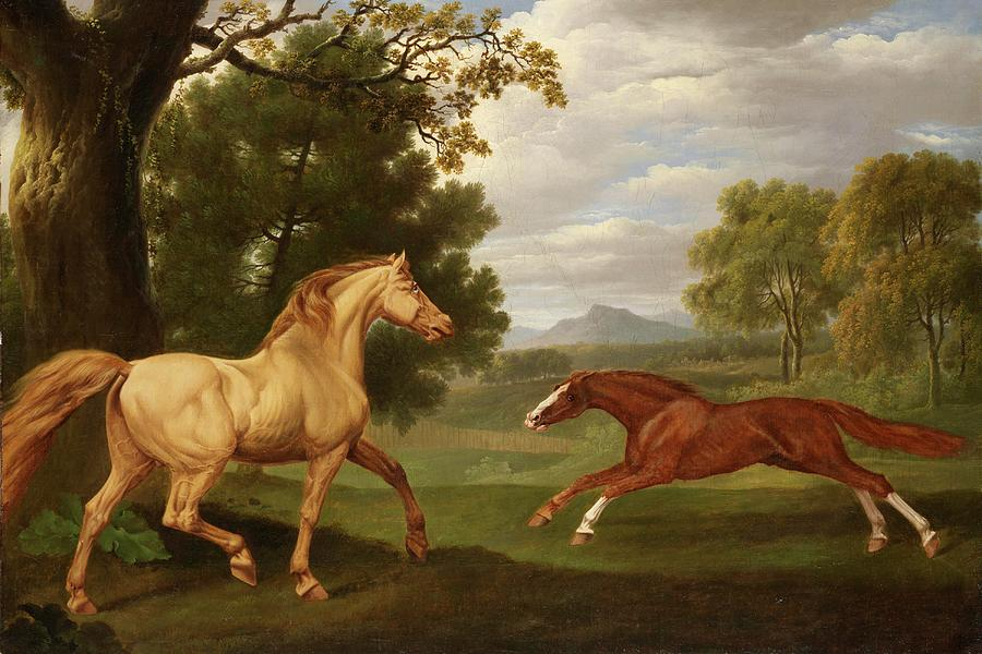 Two Horses In A Landscape Painting