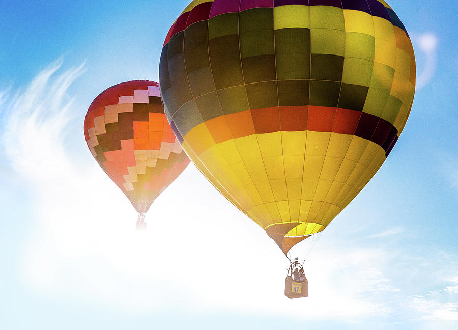 Two Hot Air Balloons Into The Sun by Pete Hendley