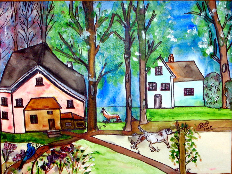 Two Houses In The Woods. Painting by Patricia Fragola