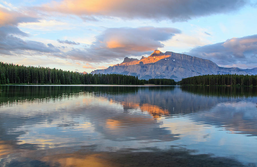 Lake Digital Art - Two Jack Lake, Banff National Park by Michael Lee