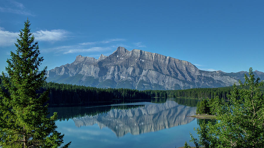 Alberta Photograph - Two Jack Lake In The Morning by Bruno Doddoli