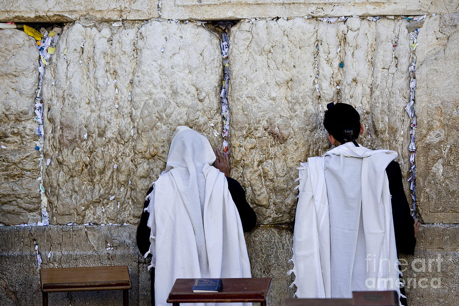 Two Jewish Men Pray At The Wailing Wall by Ofer Zilberstein