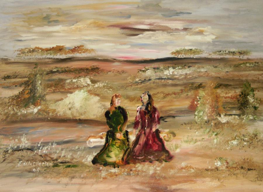 Landscape Painting - Two Ladies In Waiting by Edward Wolverton