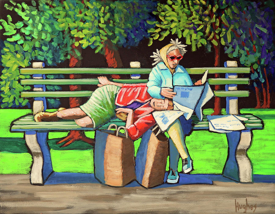 Two Ladies on Bench by Kevin Hughes