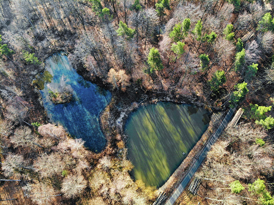 Two Lakes In A Forest Drone Photography Photograph By Matthias Hauser