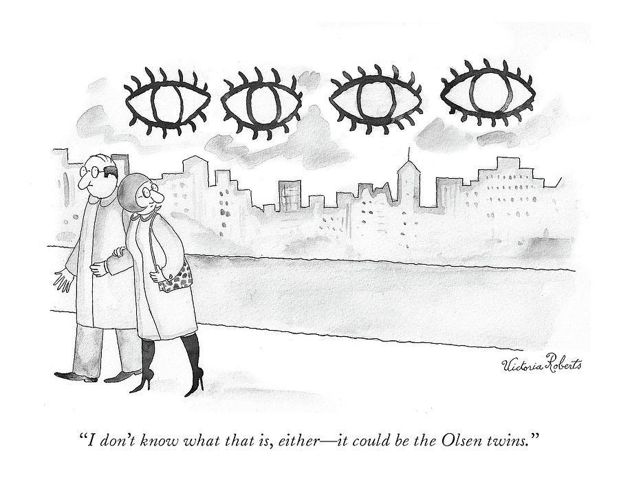 Two large sets of eyes loom over city skyline. Drawing by Victoria Roberts