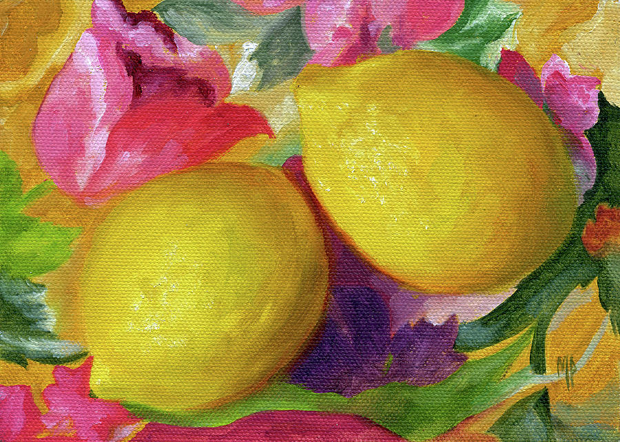 Still Life Painting - Two Lemons by Marina Petro