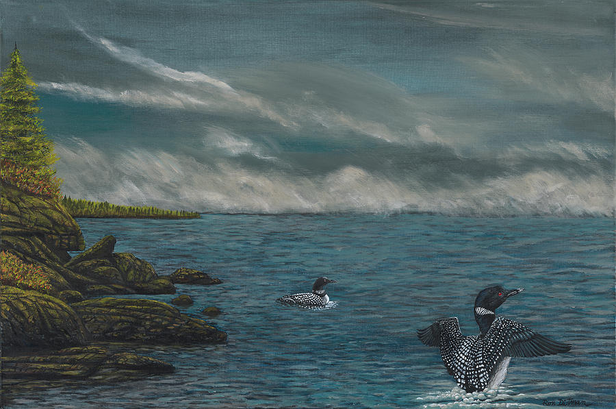 Fierce Painting - Two Loons in Stormy Lake Superior by Ron Dietman