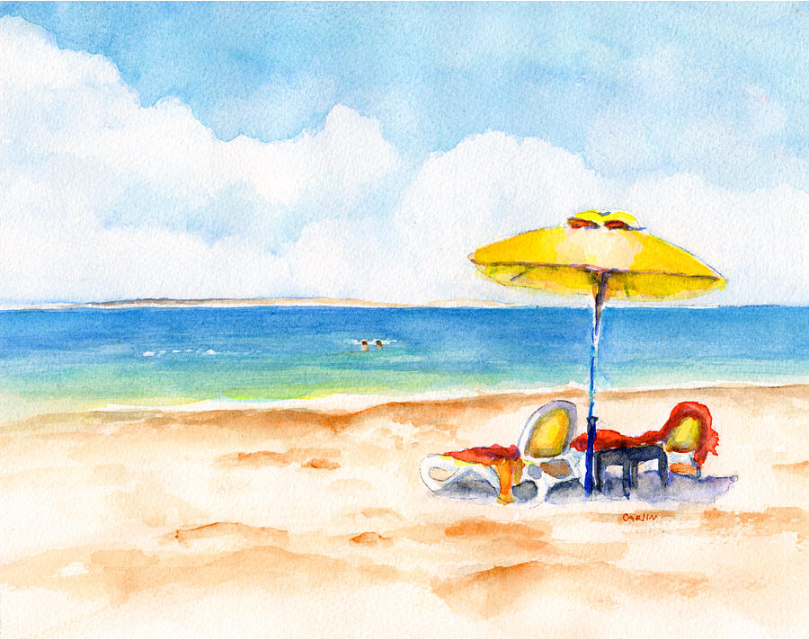Beach Chairs Painting   Two Lounge Chairs On Tropical Beach By Carlin  Blahnik CarlinArtWatercolor