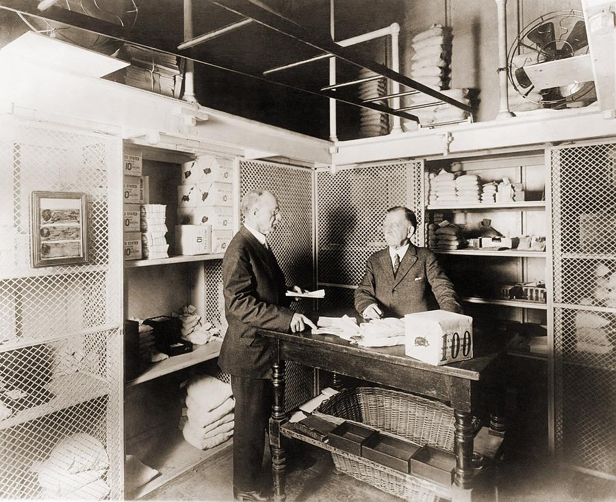 History Photograph - Two Men In Vault At The Treasury by Everett