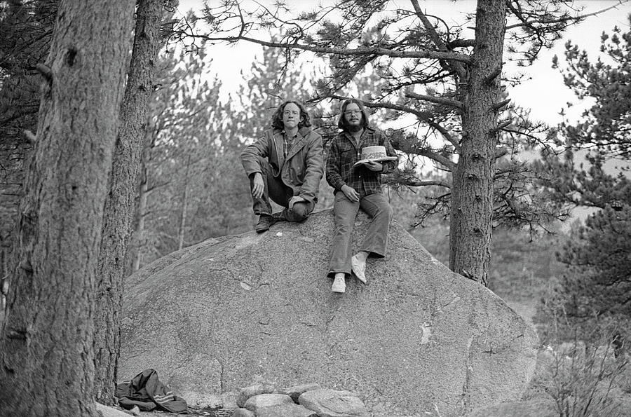 Two Men on a Boulder in the American West, 1972 by Jeremy Butler