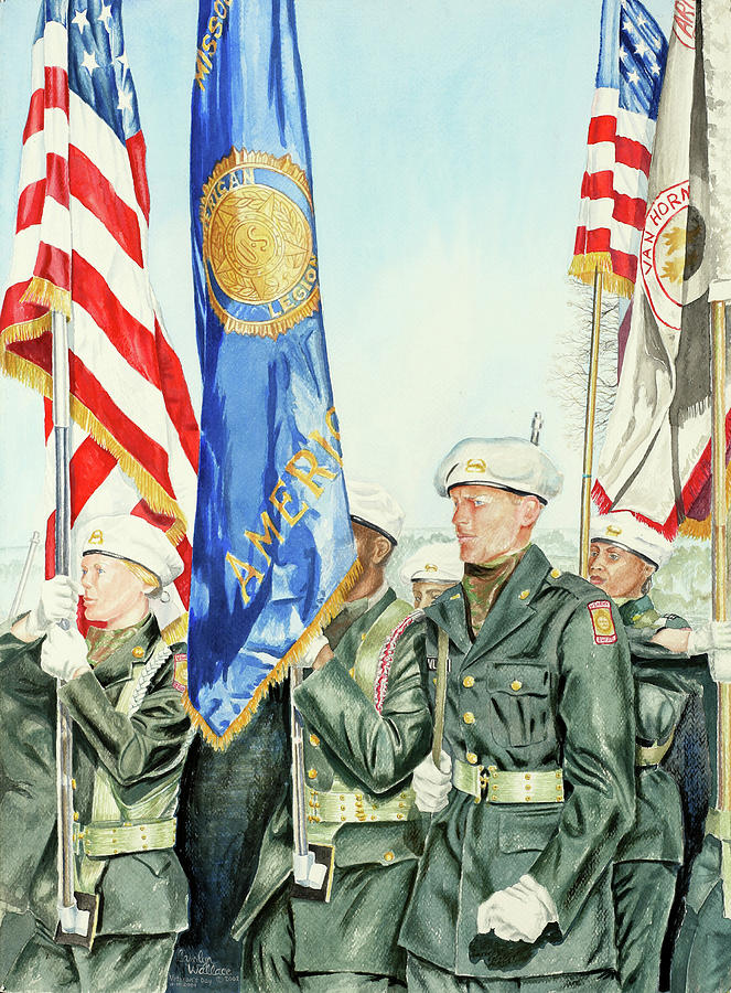 Patriotism Painting - Two Months After 9-11  Veterans Day 2001 by Carolyn Coffey Wallace