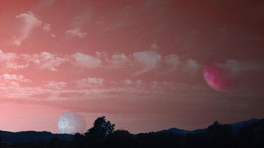 Landscape Digital Art - Two Moon Rising by Morgan Rex