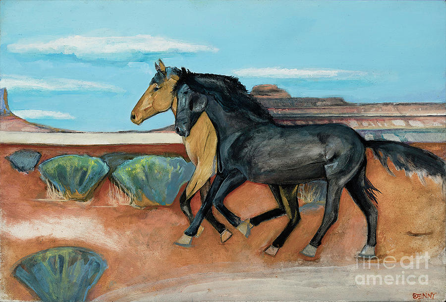 Two Mustangs Painting by Blair Denny