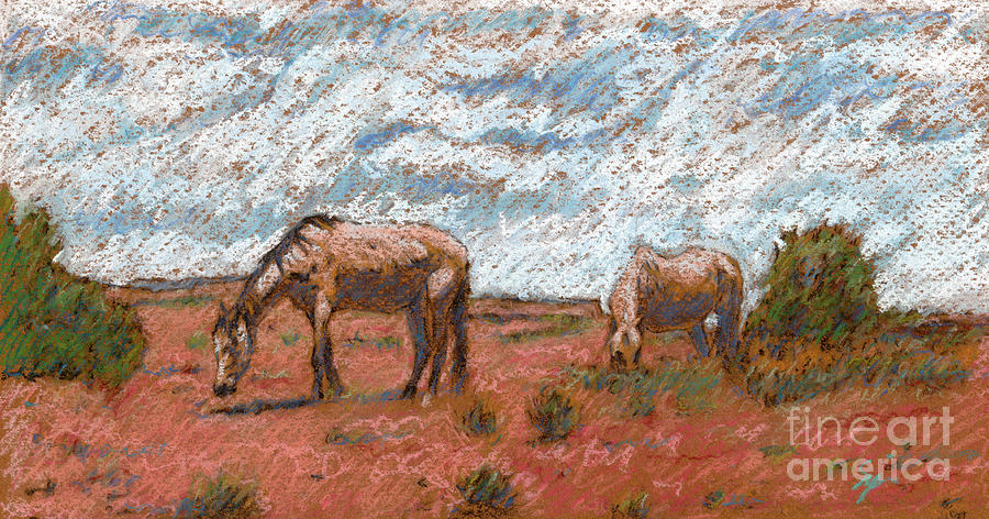 Animal Painting Drawing - Two Mustangs by Suzie Majikol Maier