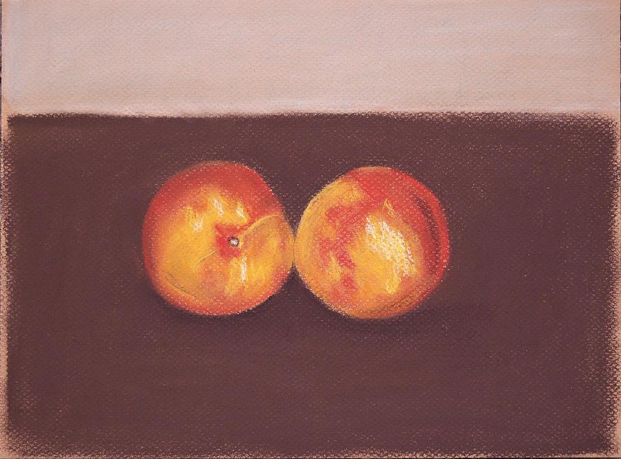 Nectarines Pastel - Two Nectarines by Marina Garrison