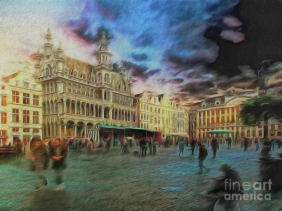 Painterly Digital Art - Two Nights In Brussels #21 Seasons End by Leigh Kemp