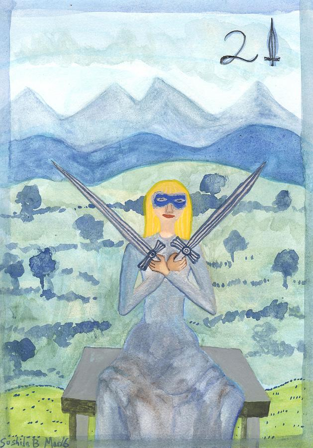 Tarot Painting - Two Of Swords Illustrated by Sushila Burgess