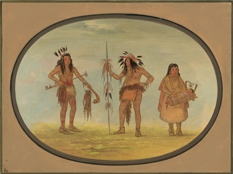 George Catlin Painting - Two Ojibbeway Warriors And A Woman by George Catlin