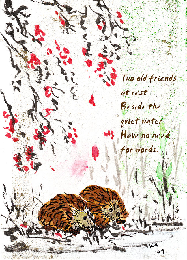 Two Old Friends - Hedgehog Haiku 4 Painting by Kerry Hartjen