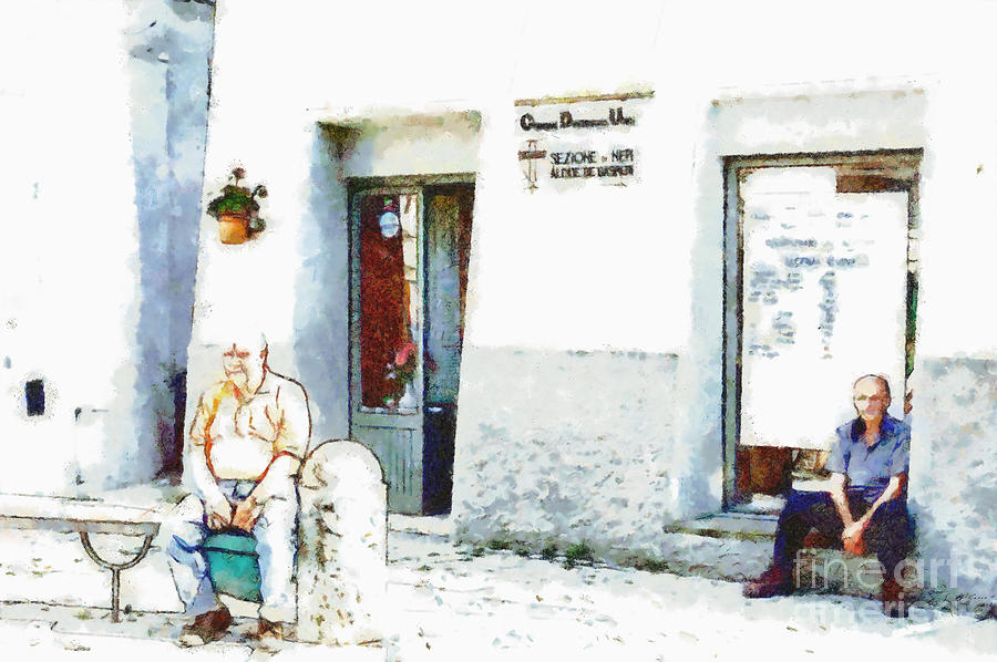 Old Men Painting - Two Old Men Sitting In Front Of The Store by Giuseppe Cocco