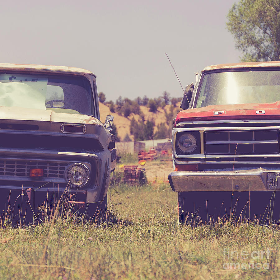 Two Old Pickup Trucks Square Photograph By Edward Fielding