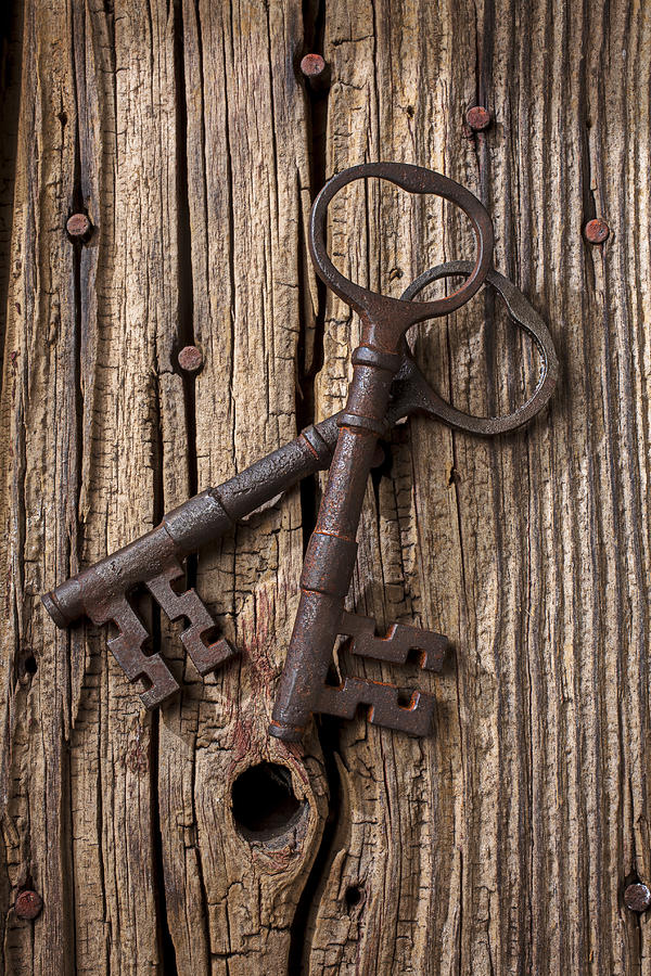 Old Photograph - Two Old Skeletons Keys by Garry Gay