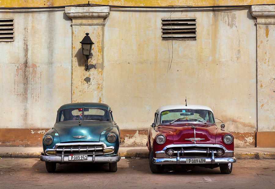 Two Old Vintage Chevys Havana Cuba by Charles Harden