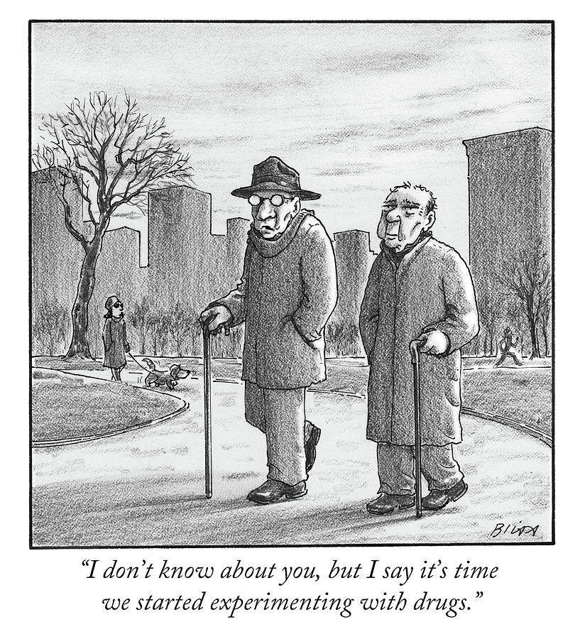 Two older men walk with canes through a park. Drawing by Harry Bliss