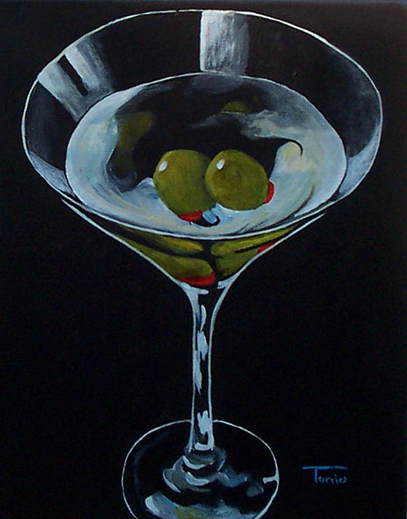 Martini Painting - Two Olive Martini by Torrie Smiley