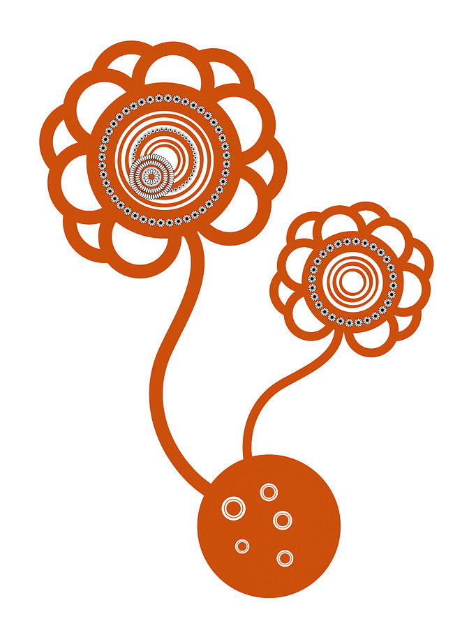 Orange Drawing - Two Orange Flowers by Frank Tschakert