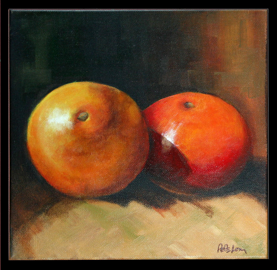 Stil Life Painting - Two Oranges by Pepe Romero