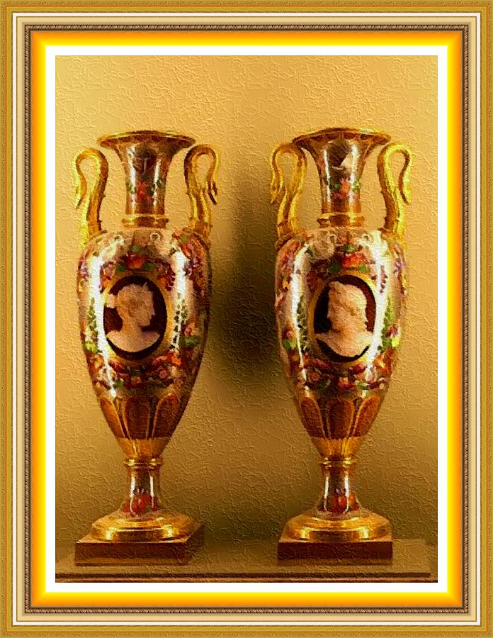 Two Ornamental Vases P B With Decorative Ornate Printed Frame
