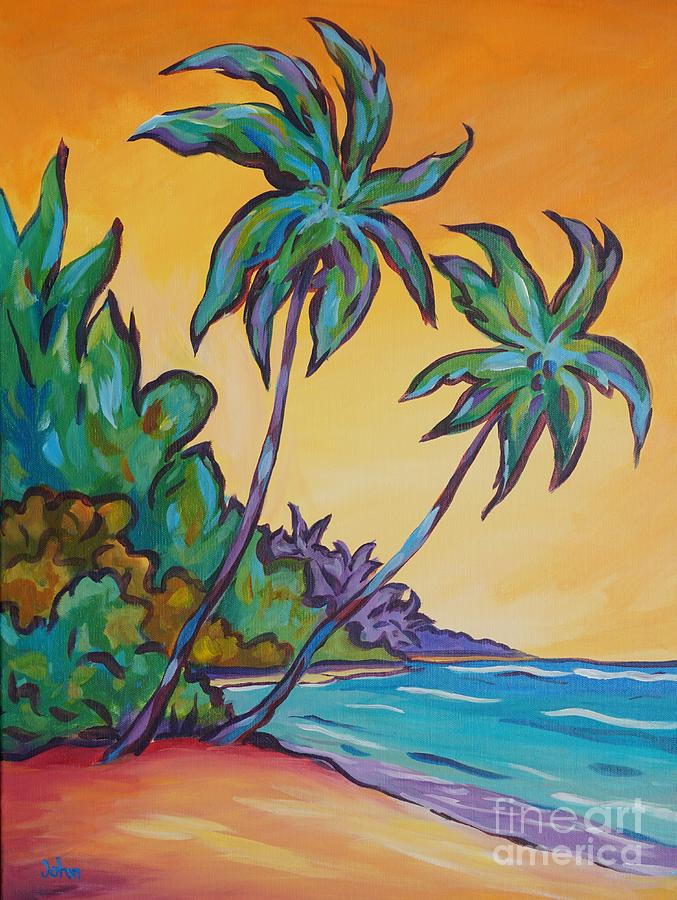 Cayman Painting - Two Palms by John Clark