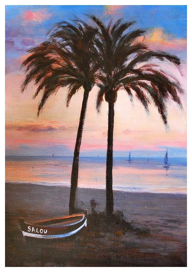 Palms Painting - Two Palms by Manuel Garcia