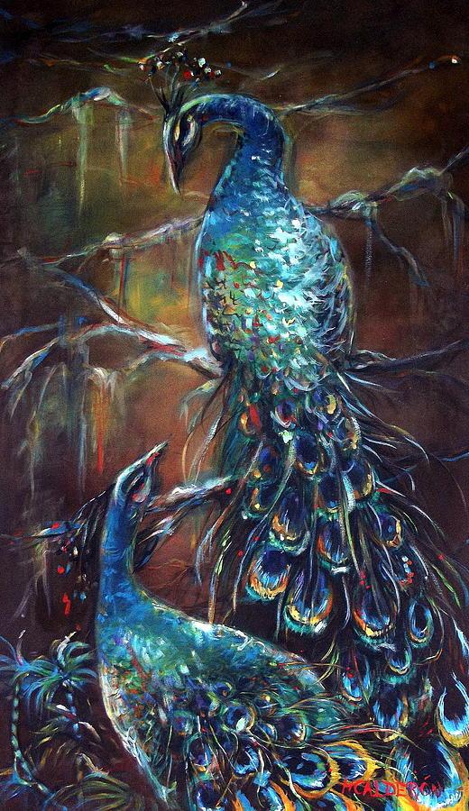 Peacocks Painting - Two Peacocks by Heather Calderon