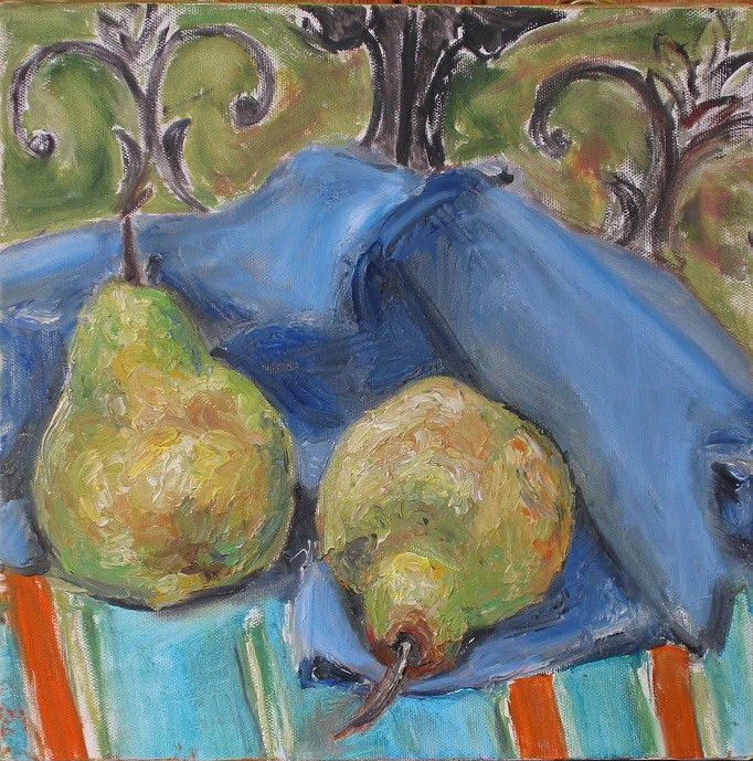 Still Life Painting - Two Pears by Cara London