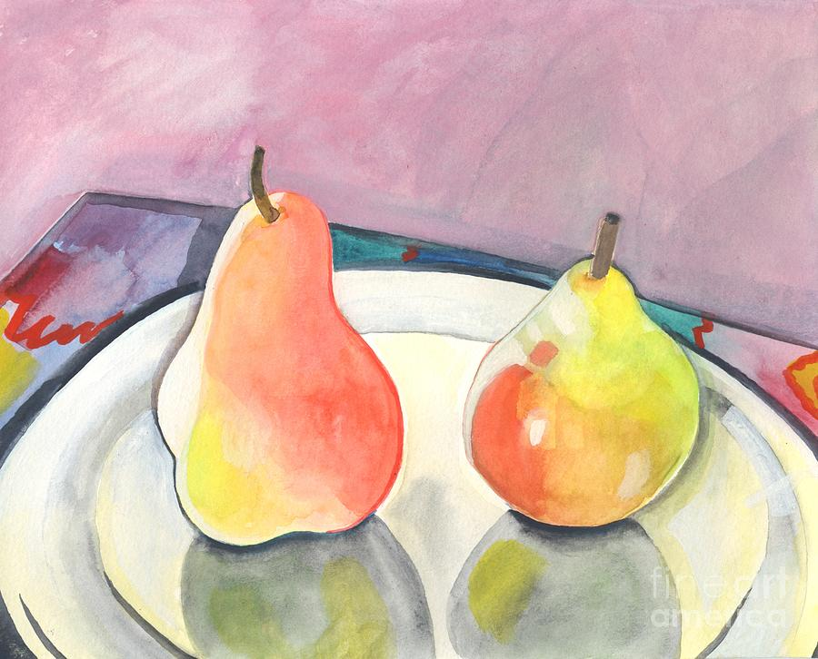 Pear Painting - Two Pears by Helena Tiainen