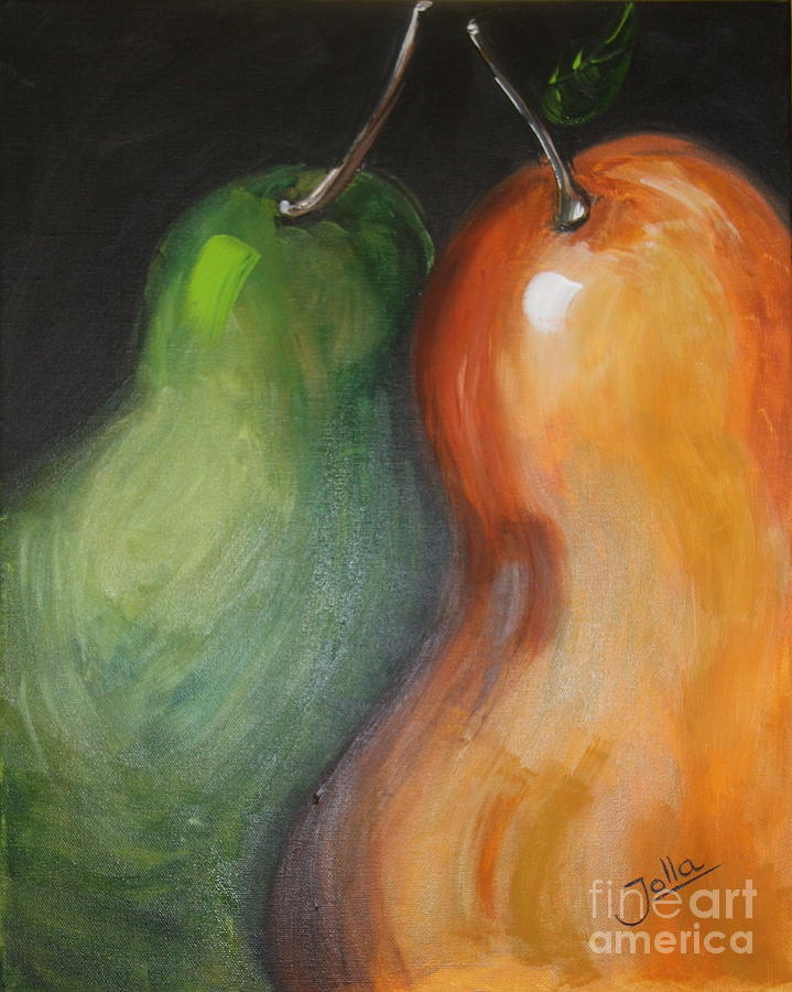 Still Life Painting - Two Pears by Jolanta Anna Karolska