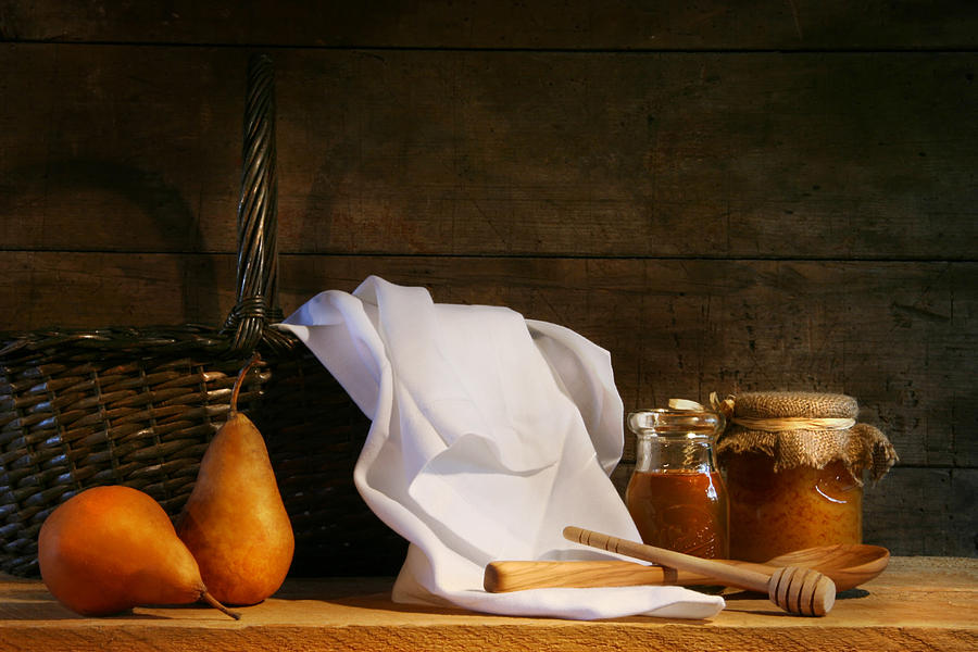 Arrangement Photograph - Two Pears With White Cloth by Sandra Cunningham