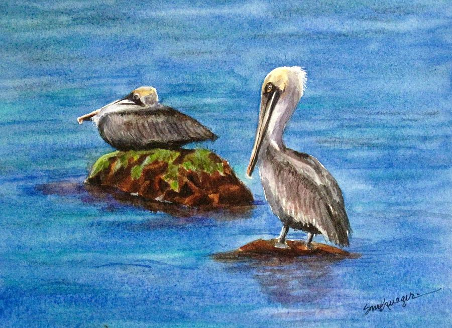 Pelicans Painting - Two Pelicans by Suzanne Krueger