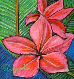 Two Pink Frangipani Painting by Yasemin Raymondo