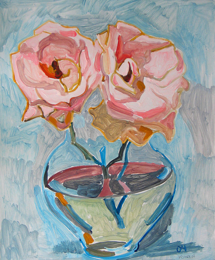 Rose Painting - Two Pink Roses by Vitali Komarov